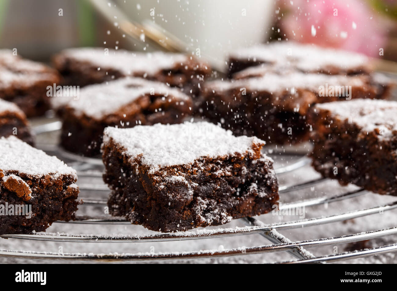 homemade chocolate brownies with icing sugar on a cake rack. Stock Photo