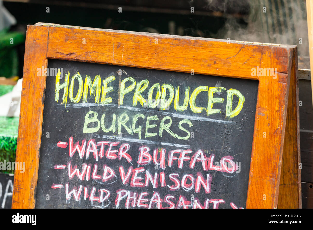 Home produced burgers sign - Stock Image