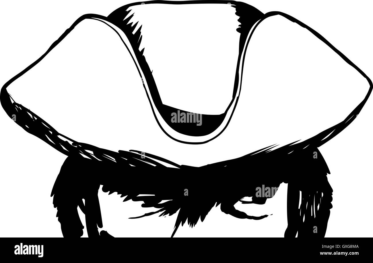 Outline sketch of eyes on face in partial shadow of tricorn hat - Stock Image