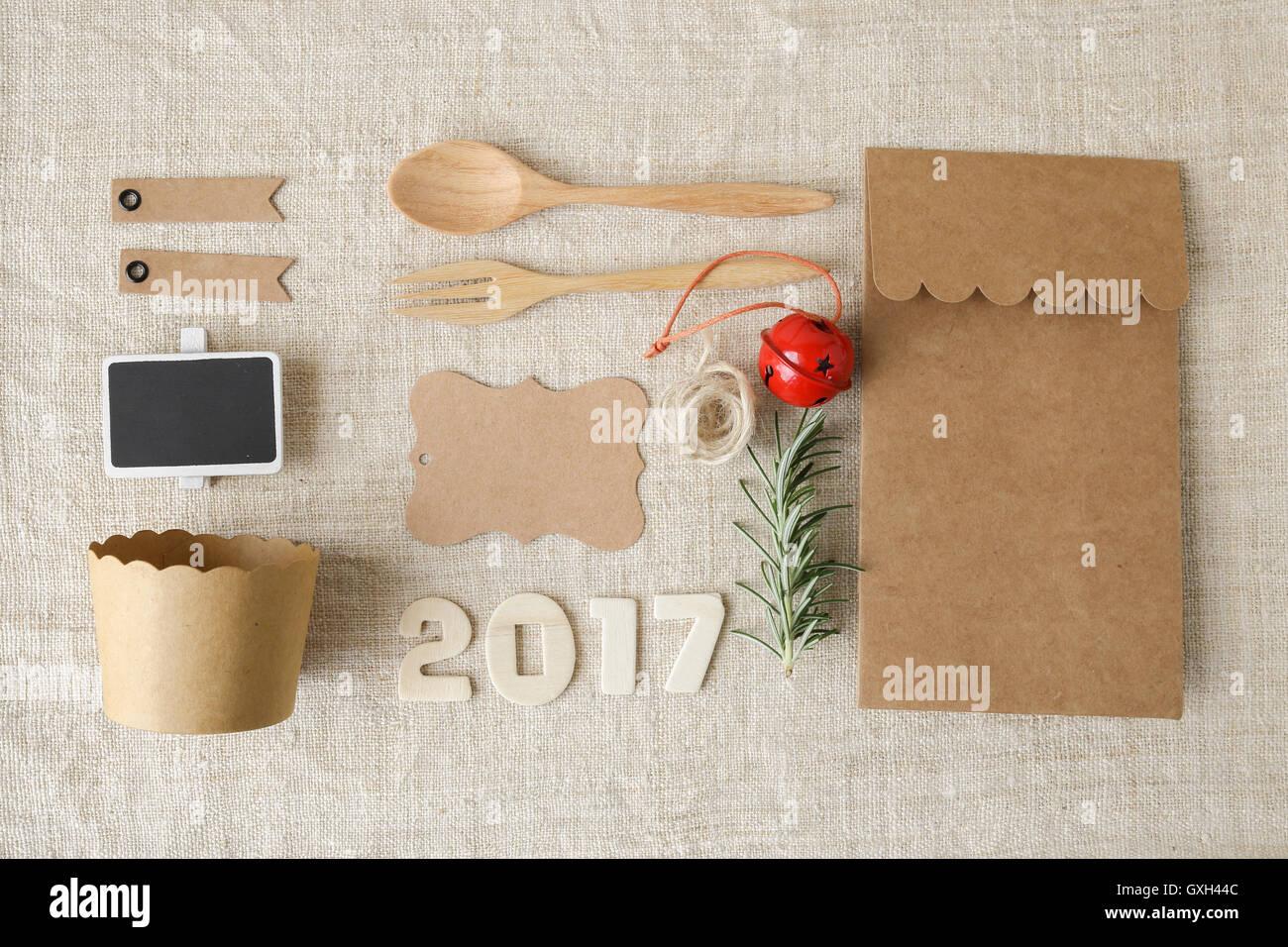 2017 Happy New Year and Christmas holidays identity branding mock up set Stock Photo