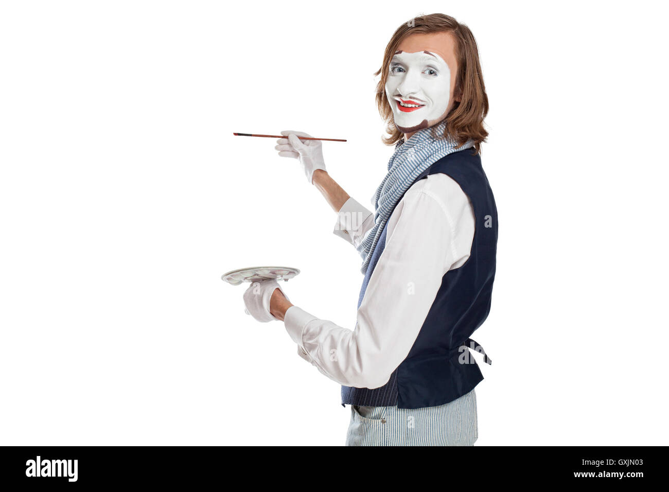 mime actor play the painter - Stock Image