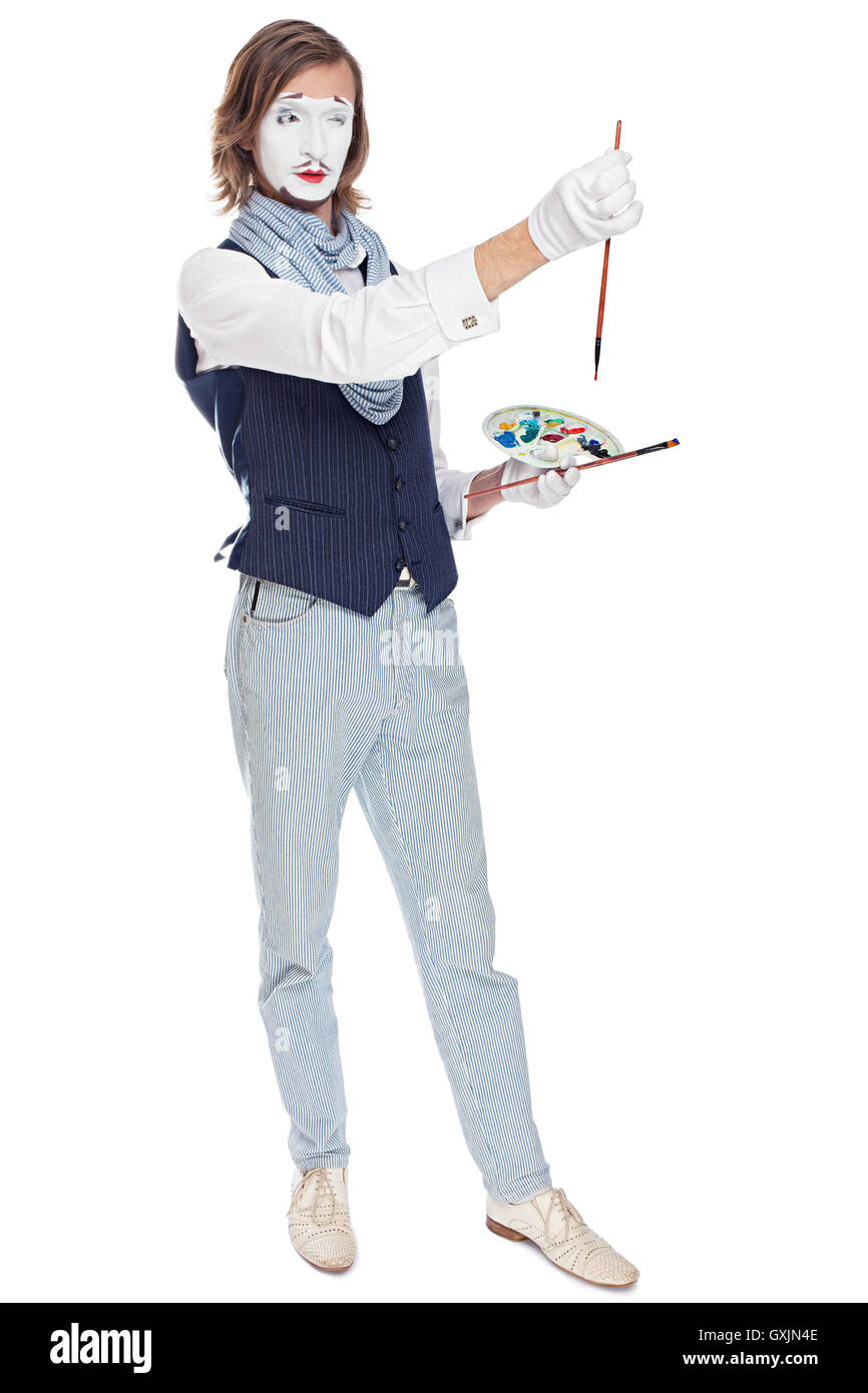 Mime Artist portrays the painter - Stock Image