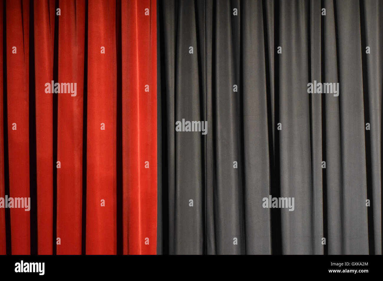 Theatre curtain in two colours - Stock Image