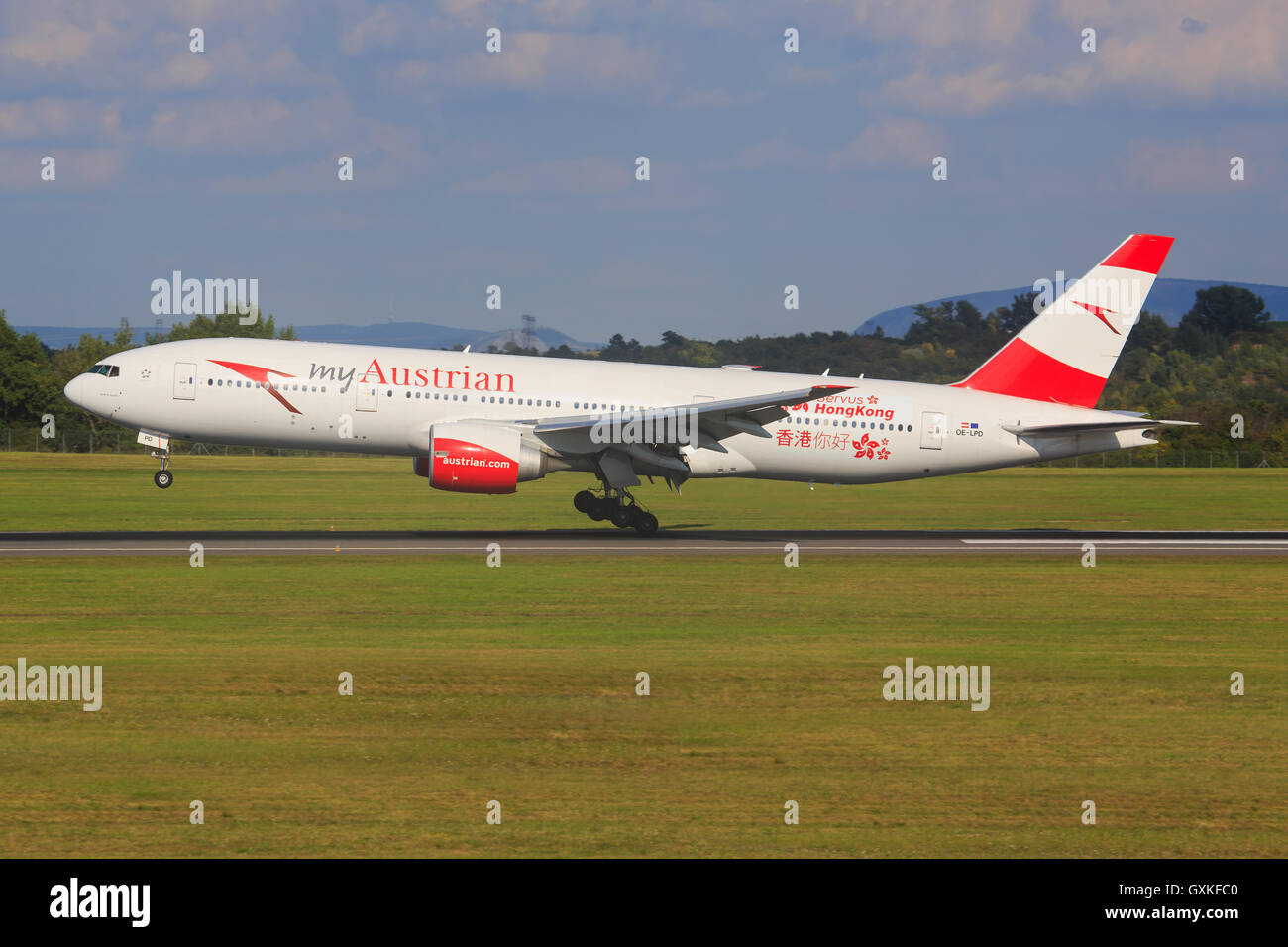 Wien/Austria August 9, 2016: Boeing 777 with 'HONGKONG' livery from Austrian landing at Wien Airport. - Stock Image