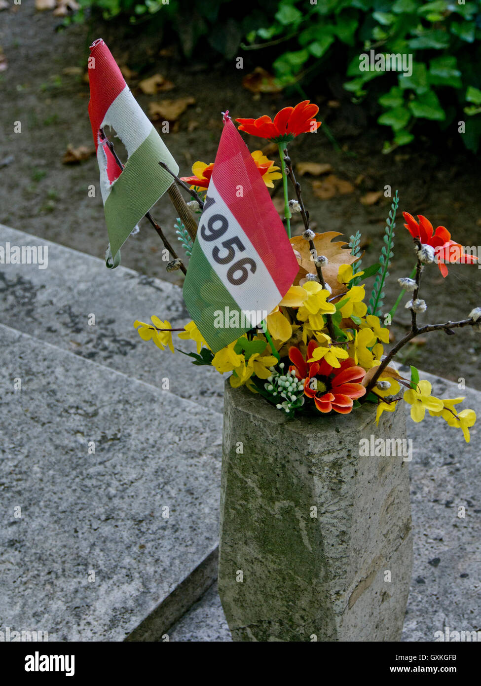 Tombs of young people who died when troops from the Soviet Union crushed the Hungarian Revolution against Soviet Stock Photo