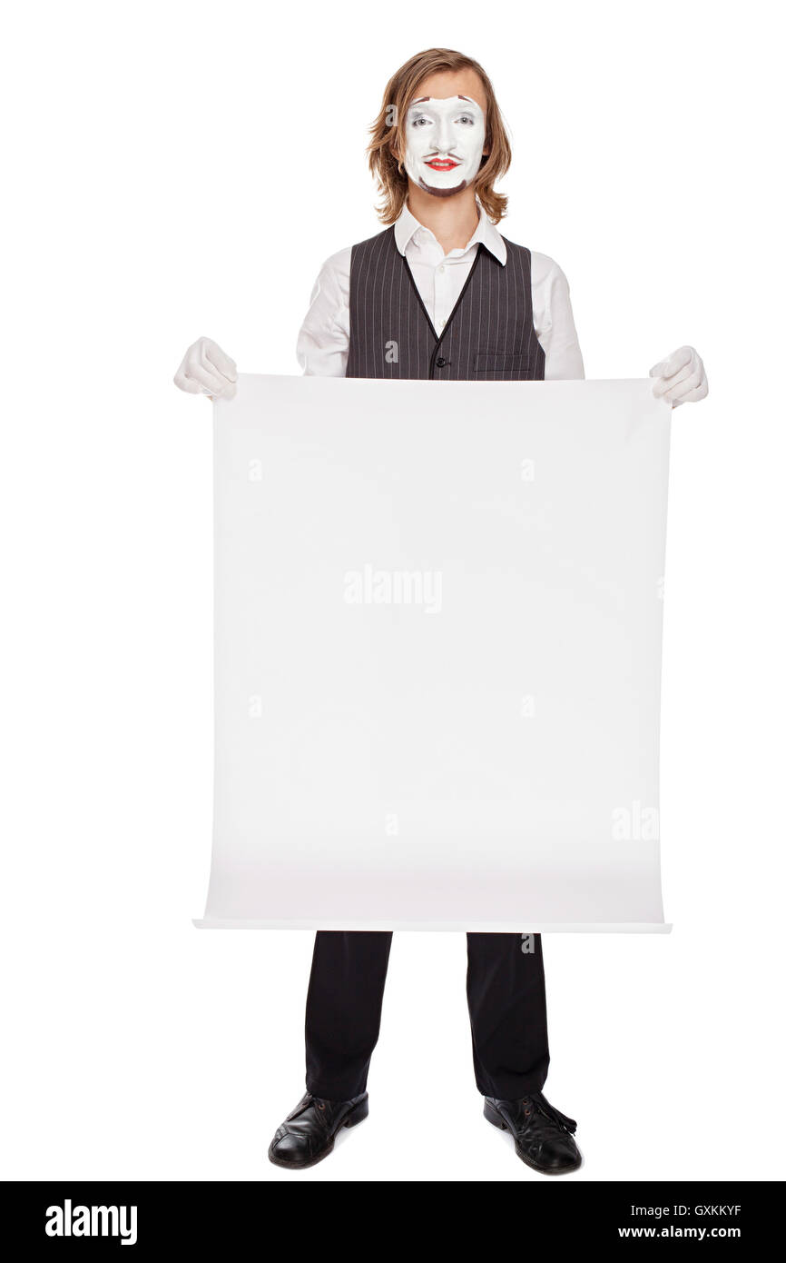 mime actor shows a white sheet - Stock Image