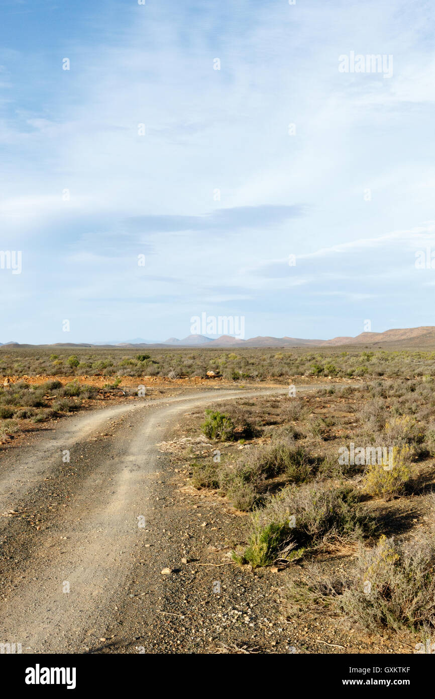 Dusty Road - Sutherland is a town with about 2,841 inhabitants in the Northern Cape province of South Africa. It - Stock Image
