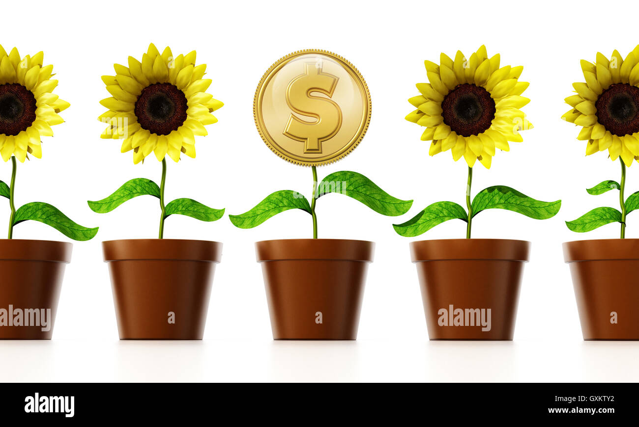 Gold coin with dollar sign on the flower pot among regular flowers. 3D illustration. - Stock Image