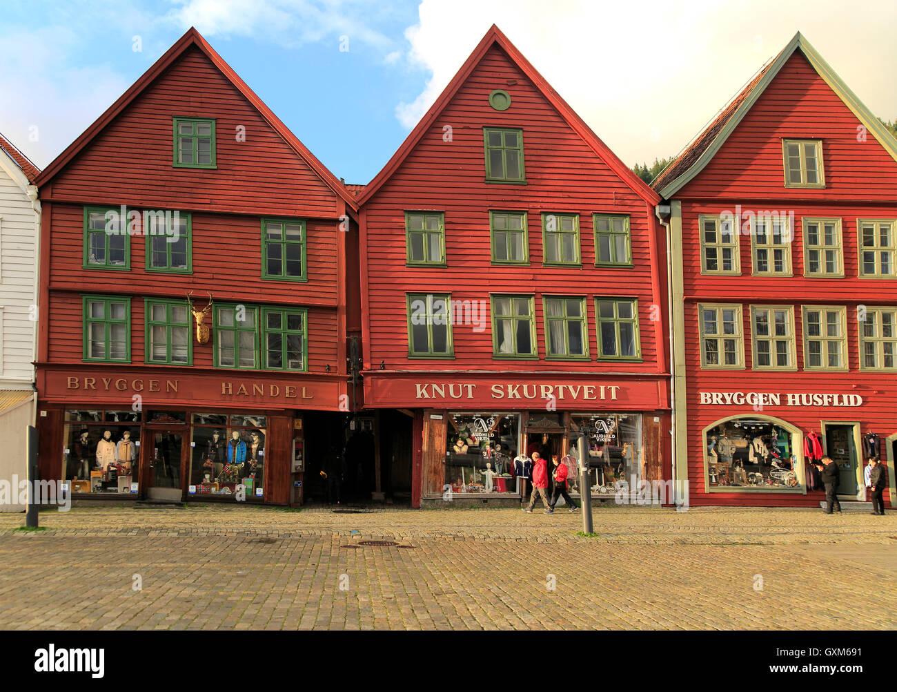 Historic Hanseatic League wooden buildings Bryggen area, Bergen, Norway UNESCO World Cultural Heritage site Stock Photo