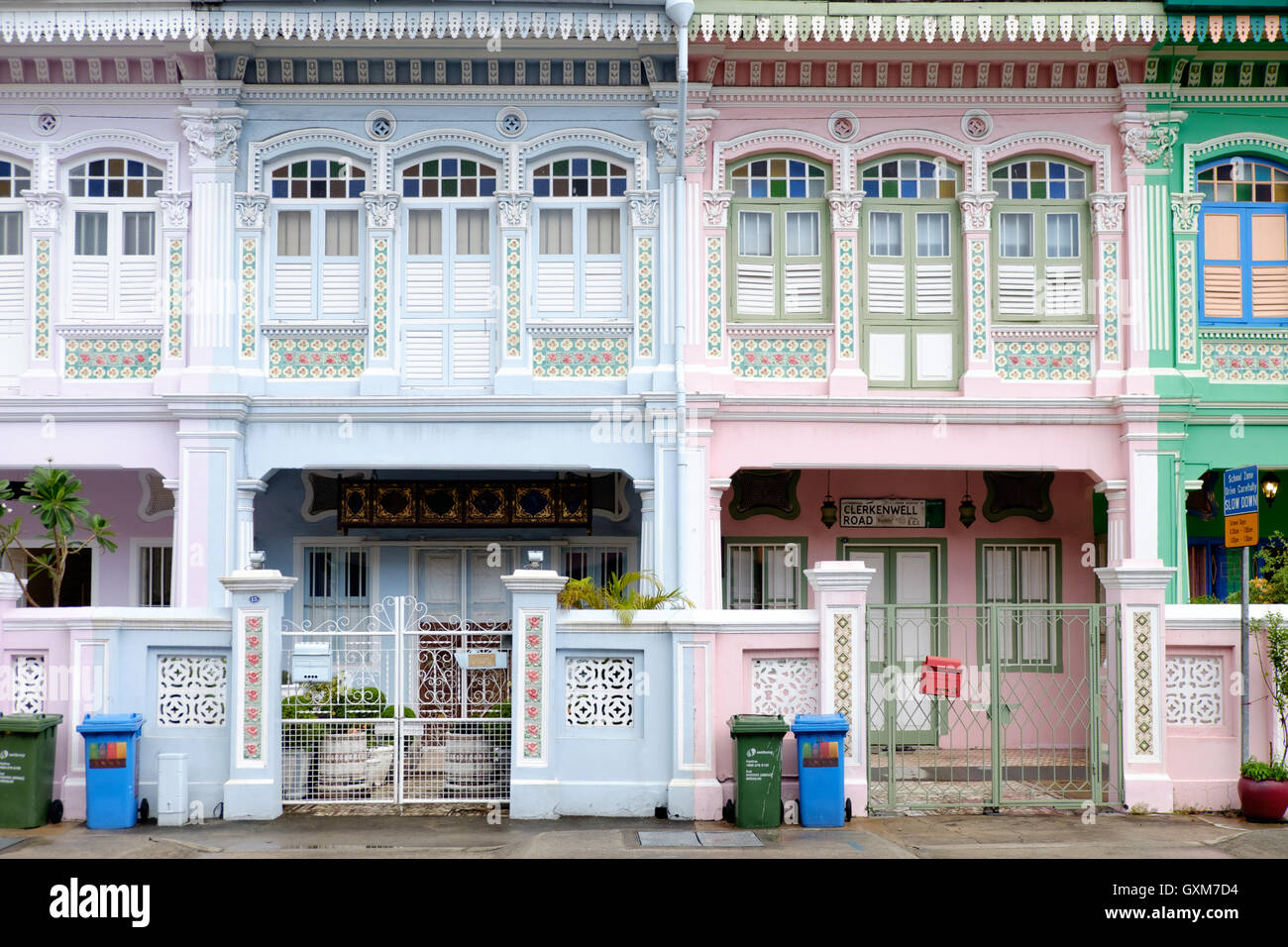 Late Shophouse Style houses in Joo Chiat area of Singapore - Stock Image