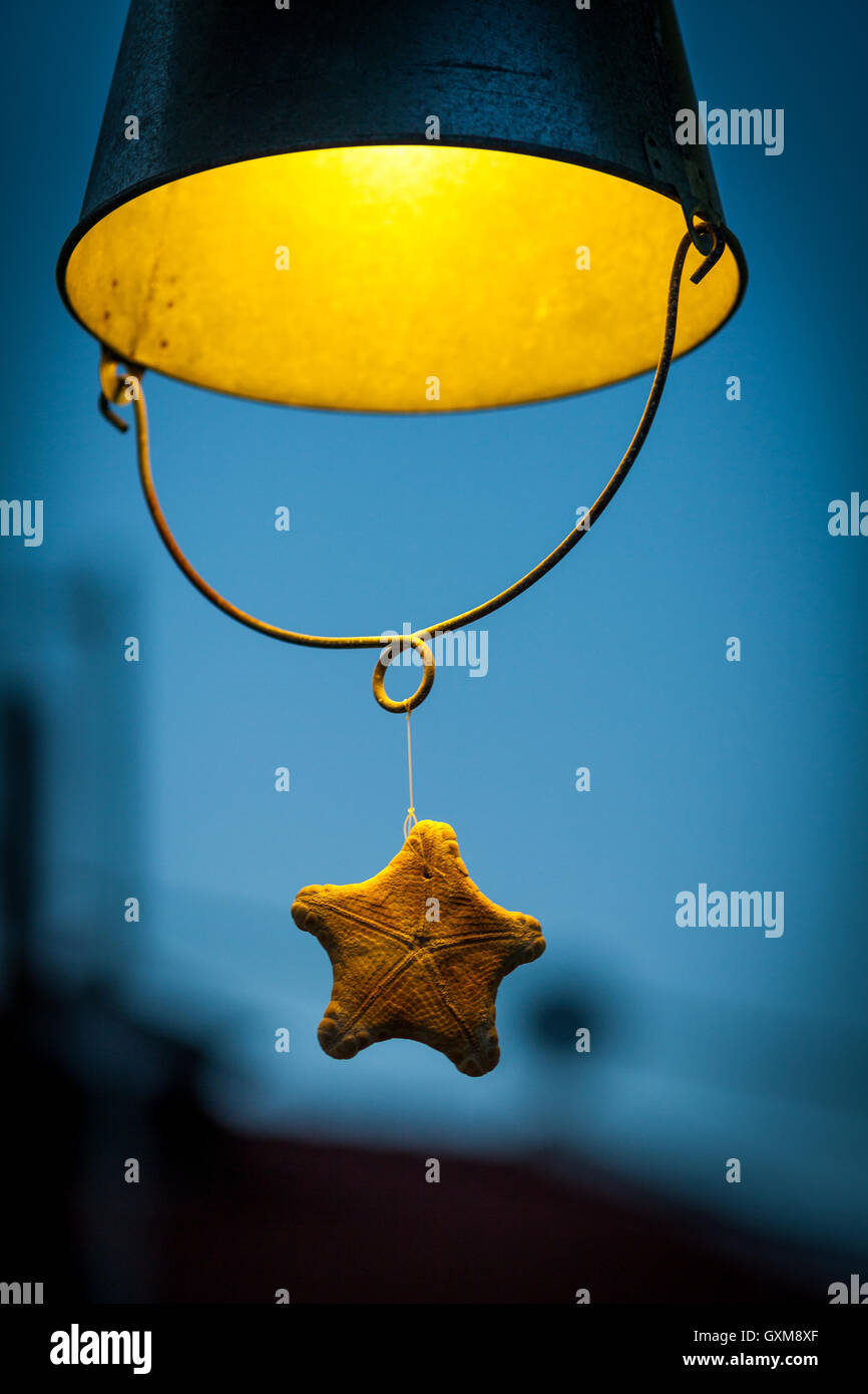 Decorative lamp in the shape of a bucket hanging from the celler - Stock Image