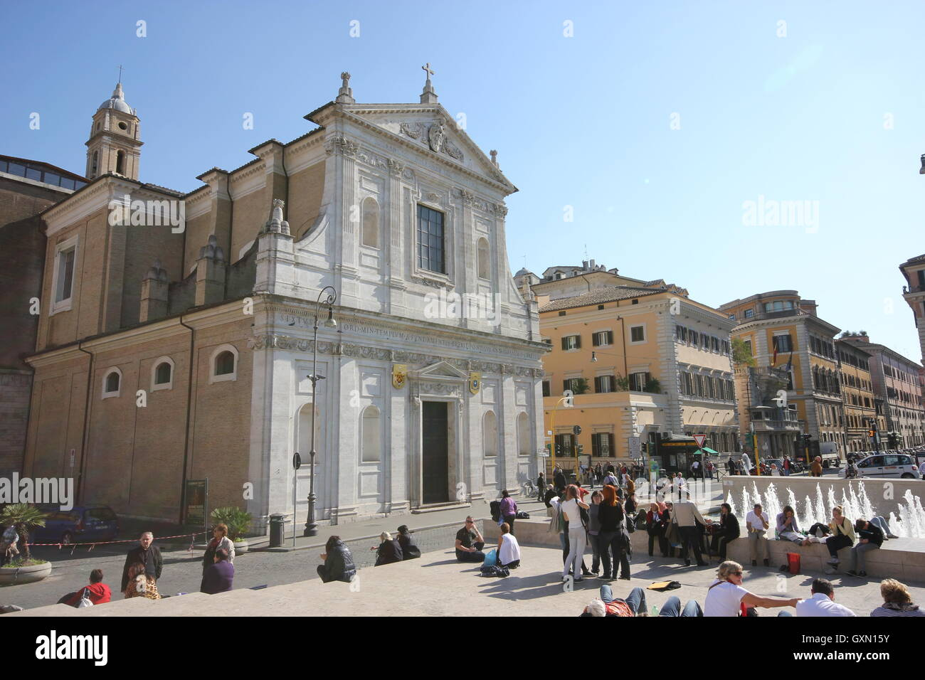 a beautiful panoramic of the Church of S.Rocco from the Ara Pacis museum, Rome, Italy - Stock Image
