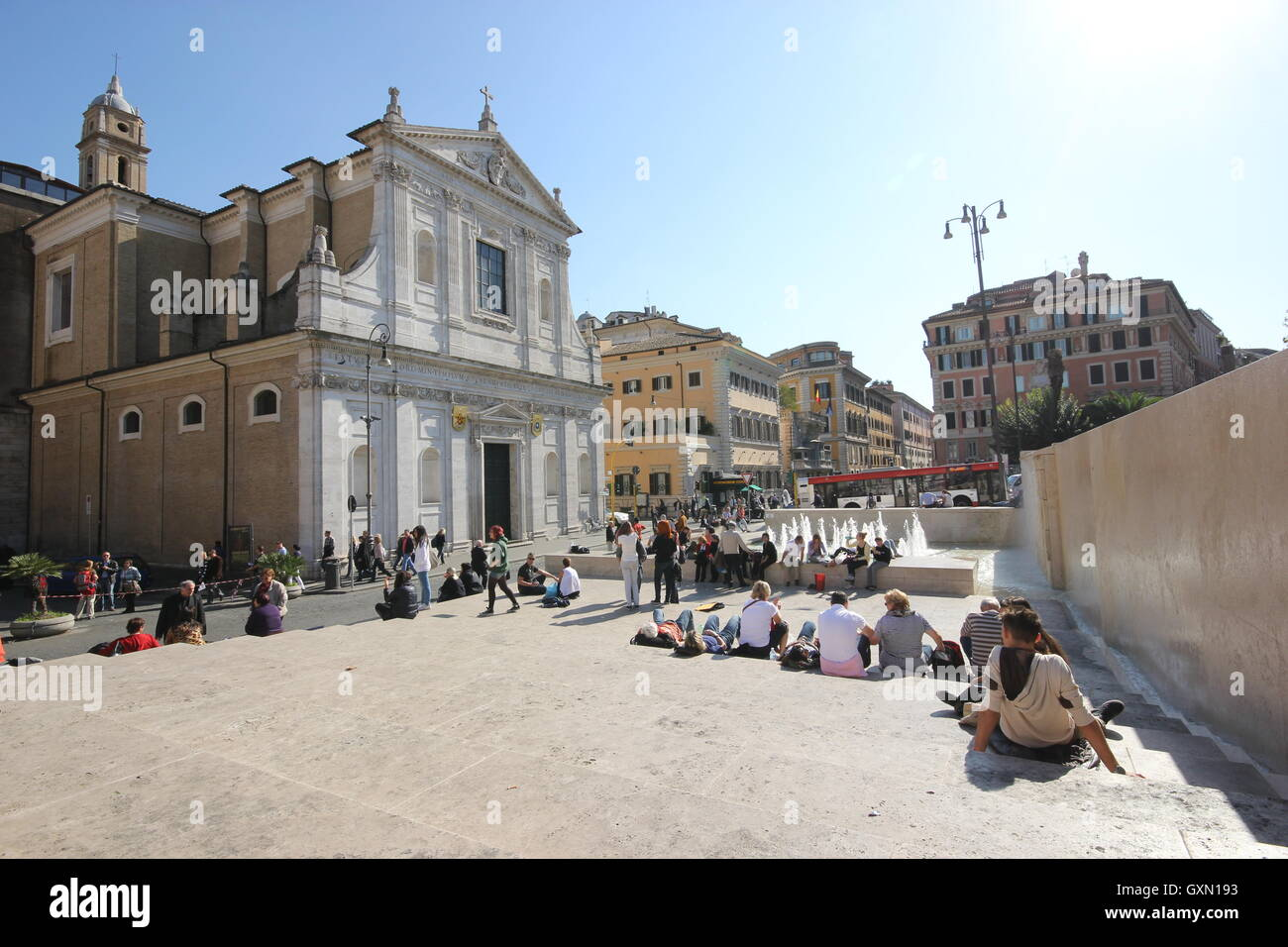 a beautiful panoramic of the Church of S.Rocco from the Ara Pacis museum, Rome, Italy Stock Photo