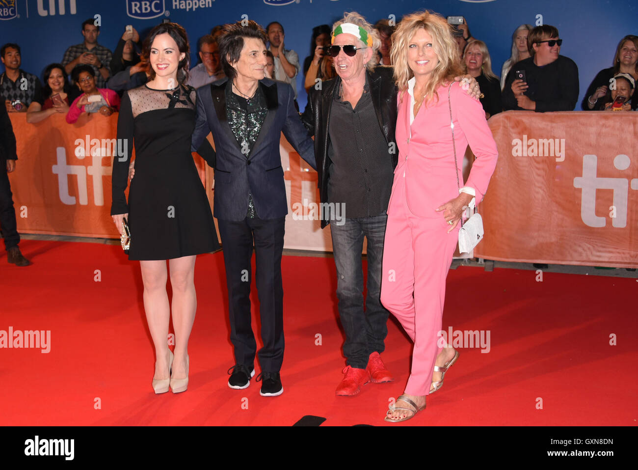 Toronto, Ontario, Canada. 16th Sep, 2016. RONNIE WOOD, SALLY HUMPHREYS, KEITH RICHARDS and PATTI HANSEN attend the - Stock Image