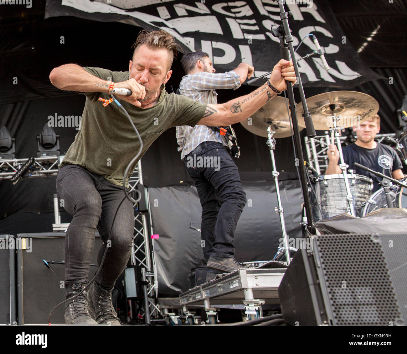 Chicago, Illinois, USA. 16th Sep, 2016. GREG PUCIATO, BEN WEINMAN and BILLY RYMER of Dillinger Escape Plan perform - Stock Image