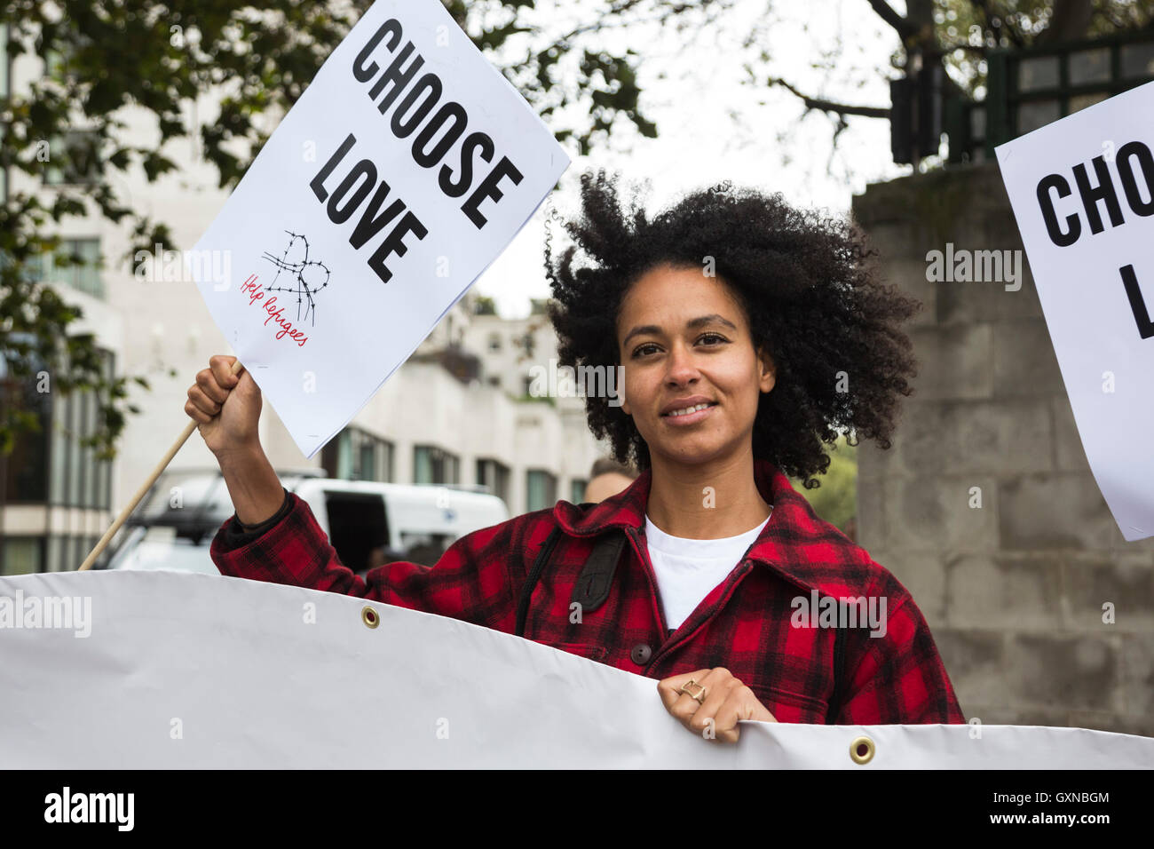 London, UK. 17 September 2016. Thousands of people take to the streets in a Refugees Welcome march in Central London - Stock Image