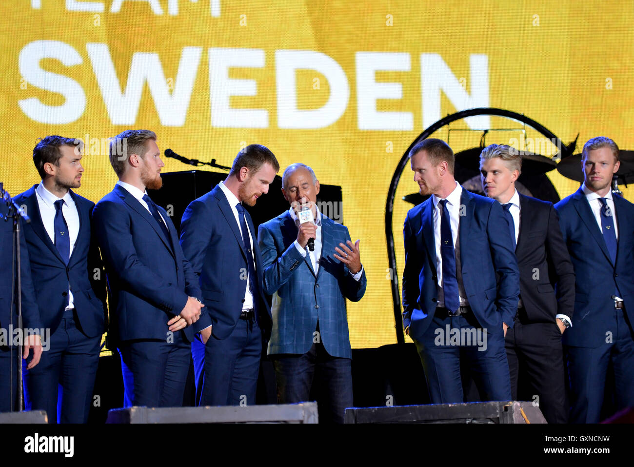Toronto, Canada - September 16, 2016:  Ron Maclean interviews the Sedin twins of team Sweden at the World Cup of - Stock Image