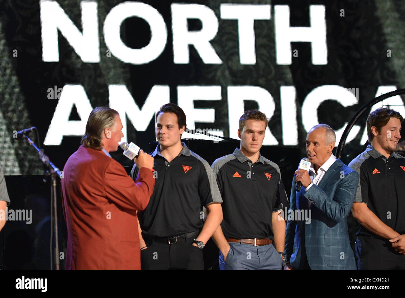 Toronto, Canada - September 16, 2016:  Barry Melrose and Ron Maclean interview Auston Matthews and Connor McDavid - Stock Image