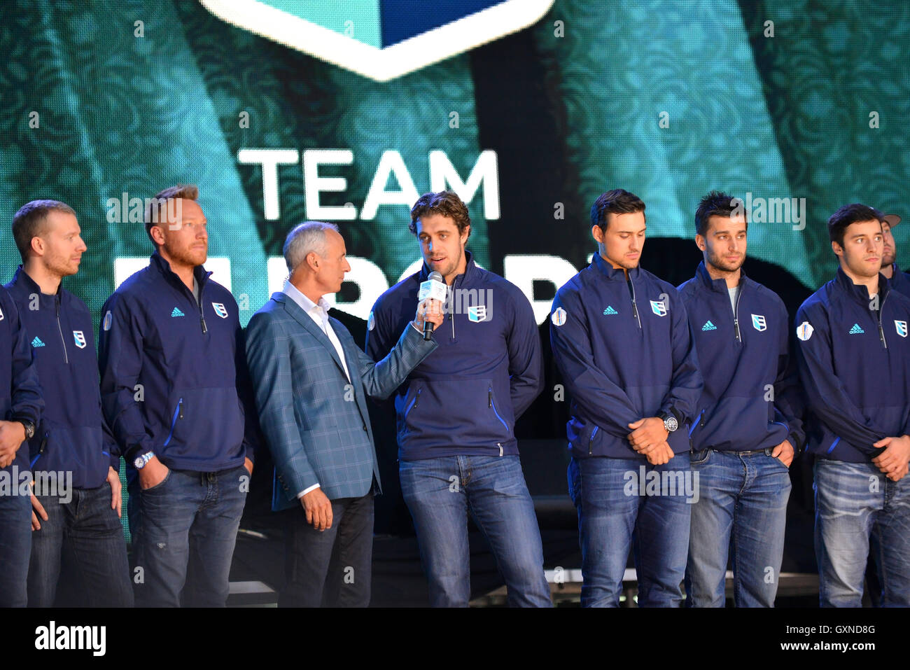 Toronto, Canada - September 16, 2016:  Ron Maclean interviews Anze Kopitar of Team Europe at the World Cup of Hockey - Stock Image