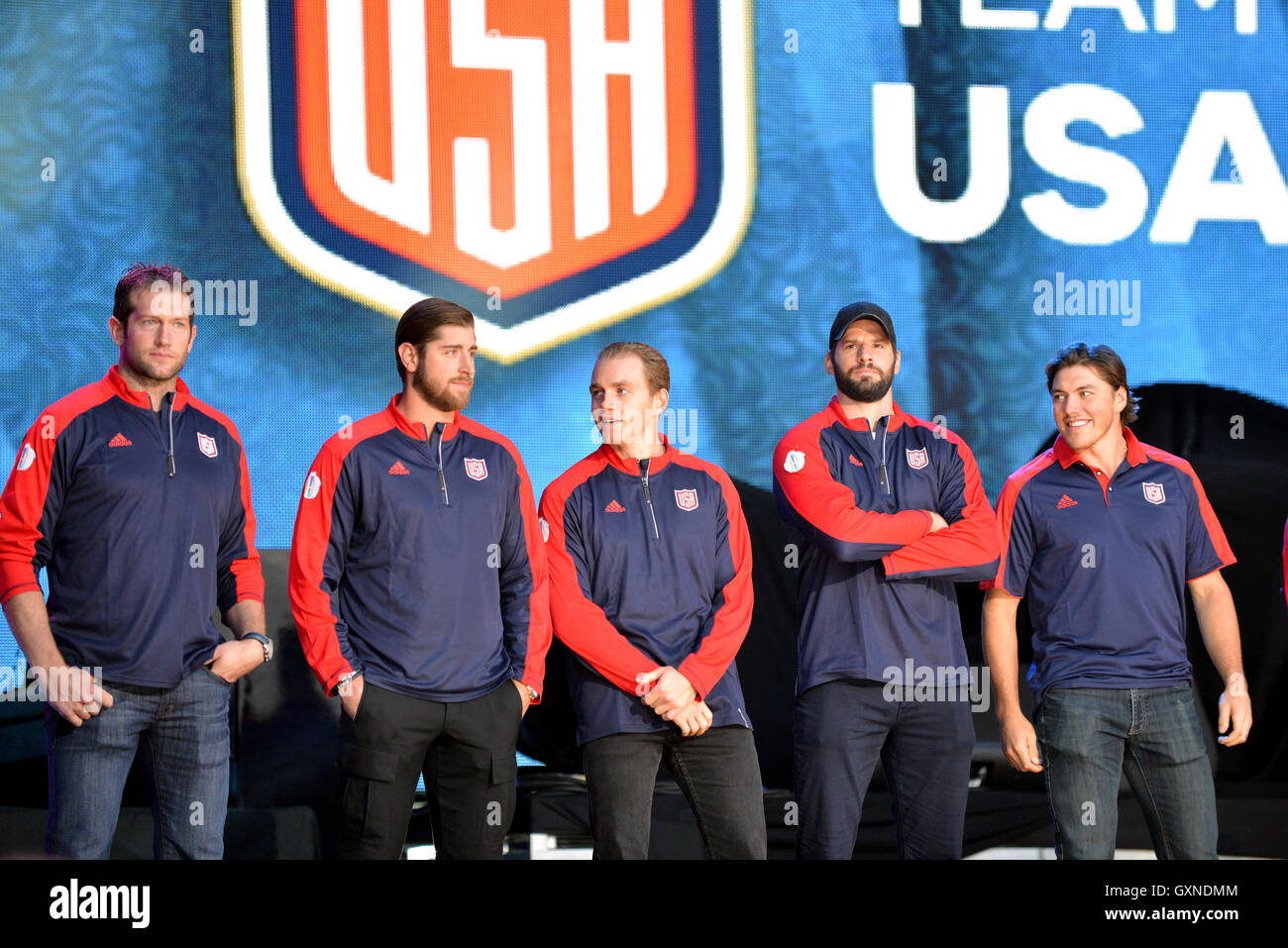 Toronto, Canada - September 16, 2016:  Members of Team USA, including Patrick Kane, C,  at the World Cup of Hockey - Stock Image