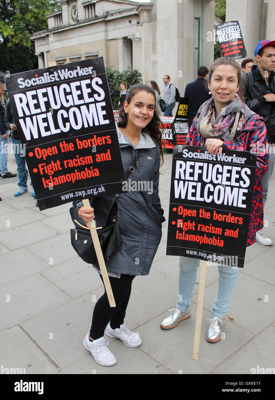 Protest to shut down Yarl's Wood and all other immigration detention centres in the UK - Stock Image