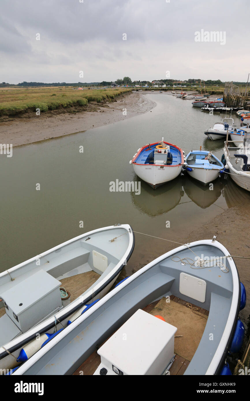 A dull day, low tide at Morston Creek - Stock Image