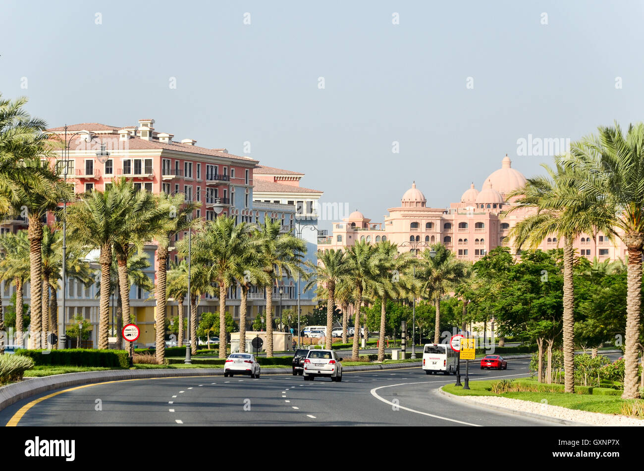 New roads and highways in Qatar, Middle East - Stock Image