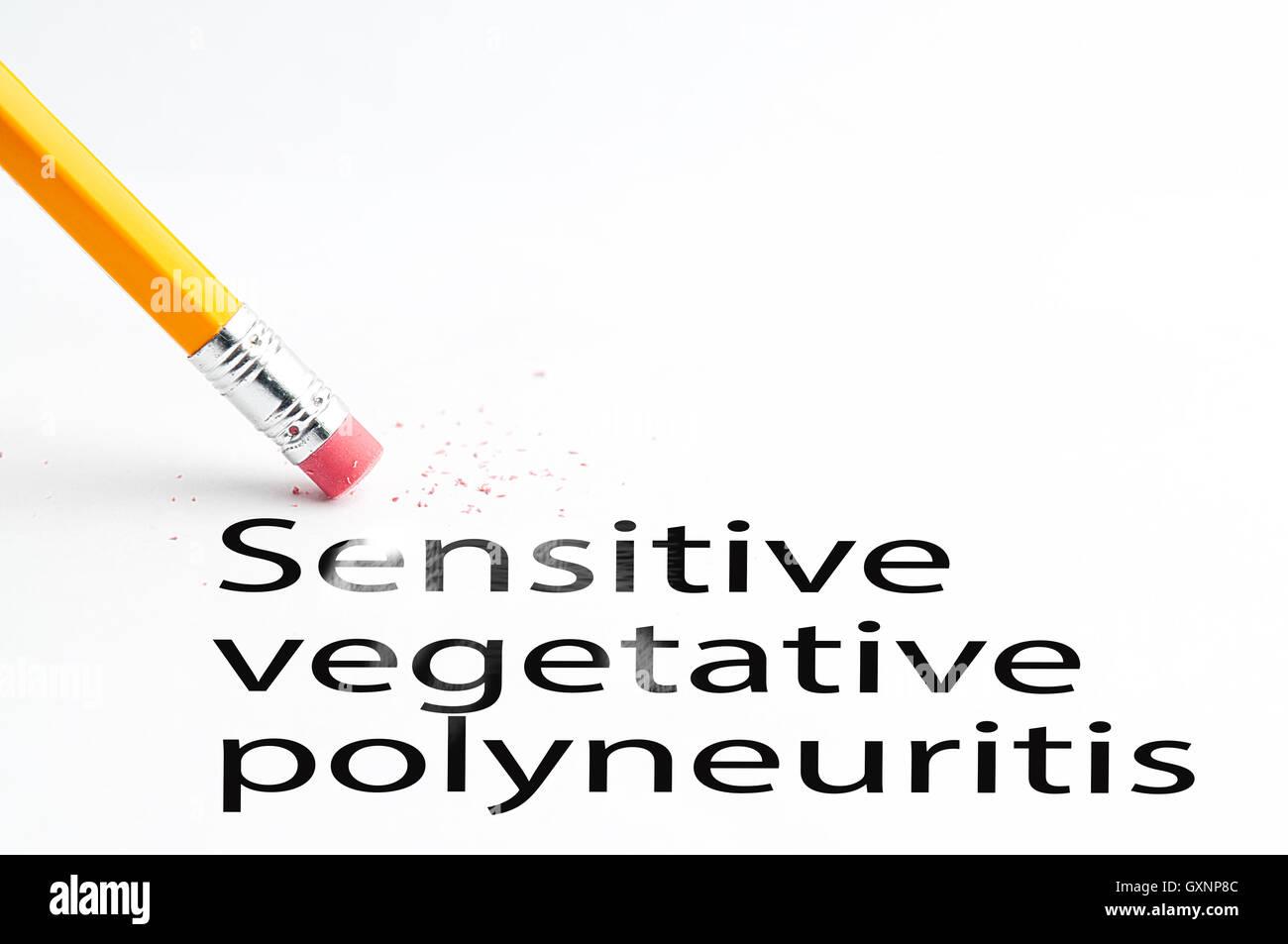 Pencil with eraser Sensitive vegetative polyneuritis - Stock Image