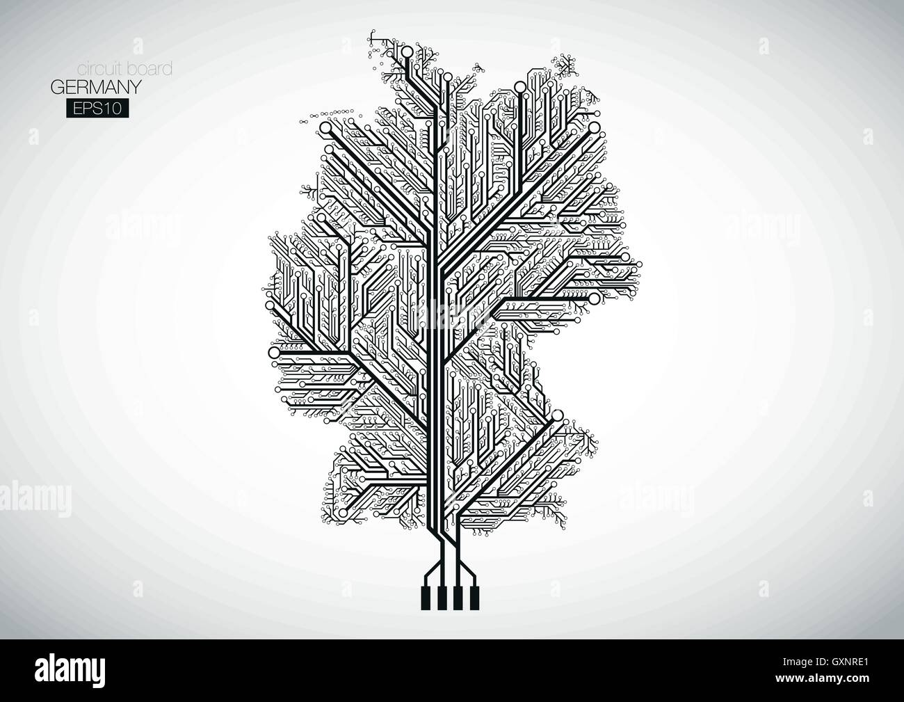 Germany map connected by Circuit board lines Stock Vector Art ...