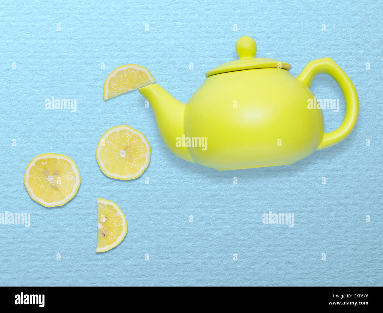 Creative concept photo of a tea pot with lemon slices on blue background. - Stock Image