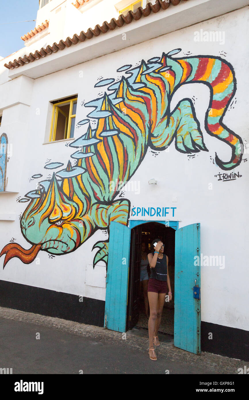 The Bunkhouse Hostel and Spindrift Bar, Lagos, the Algarve, Portugal Europe - Stock Image