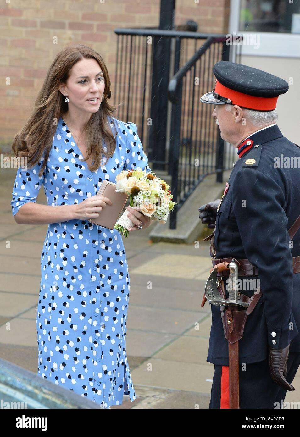 The Duchess of Cambridge with Jonathan Douglas-Hughes, Vice Lord-Lieutenant of Essex as she leave Stewards Academy - Stock Image
