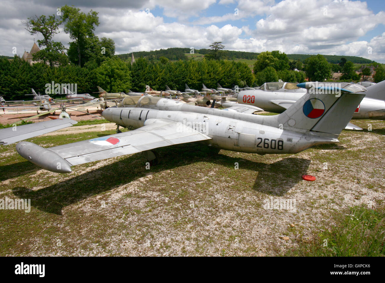 Czech Republic Air Force Aero L-29 Delfin on display at the Aviation museum at Chateau de Savigny-les-Beaune, France - Stock Image