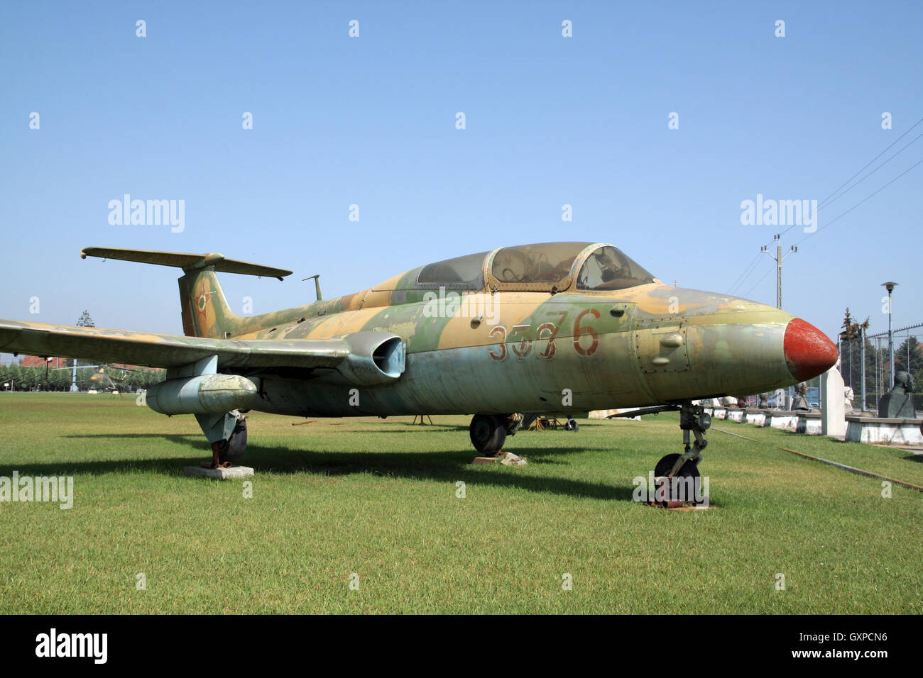 Hungarian Air Force Aero L-29 Delfin trainer jet on display in the Military Technology Park, Kecel, Hungary - Stock Image