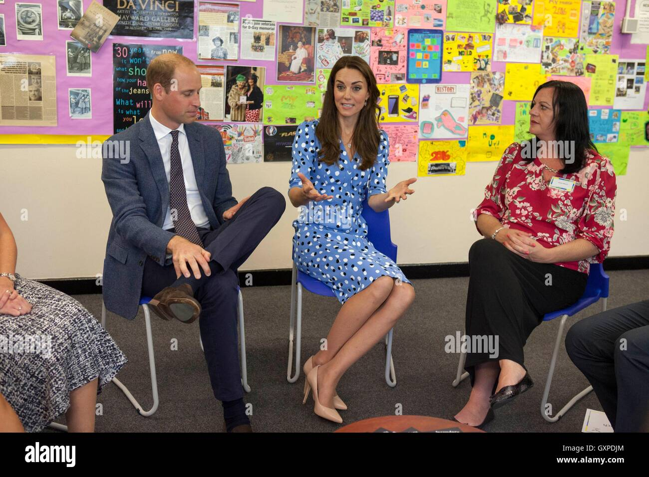The Duke and Duchess of Cambridge meeting parents during their visit to Stewards Academy in Harlow, Essex, where - Stock Image
