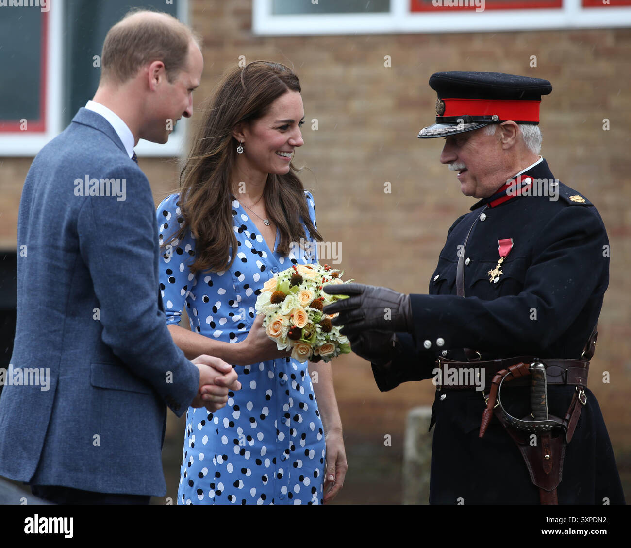 The Duke and Duchess of Cambridge with Jonathan Douglas-Hughes, Vice Lord-Lieutenant of Essex as they leave Stewards - Stock Image