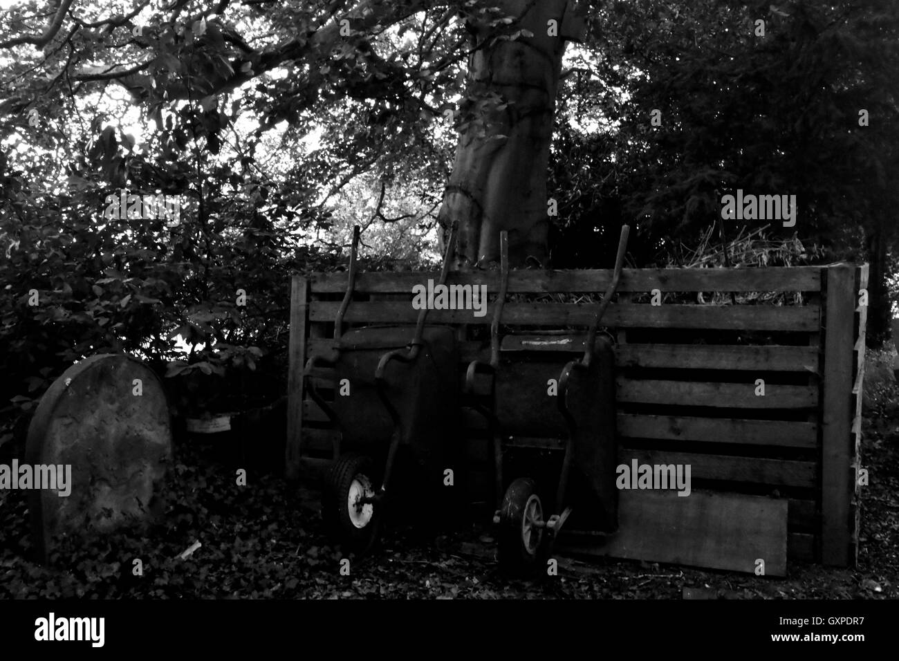 Wheelbarrows in the Framlingham Cemetery - Stock Image