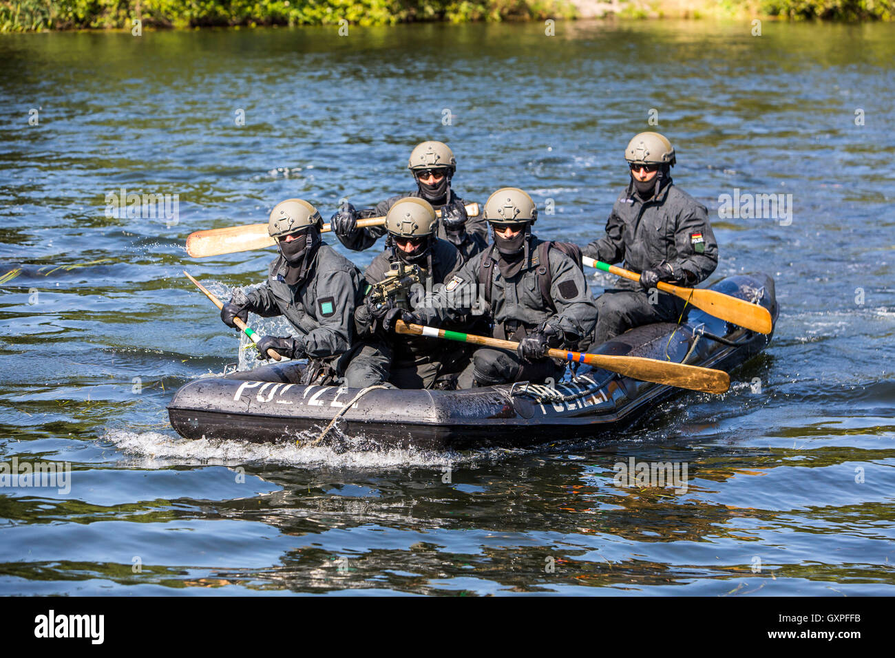 Exercise of a SWAT team, German police, anti Terror police unit, - Stock Image