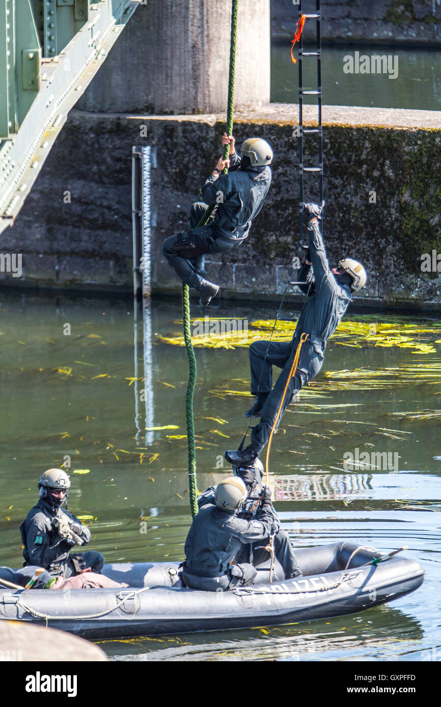 Exercise of a SWAT team, German police, anti Terror police unit, Stock Photo