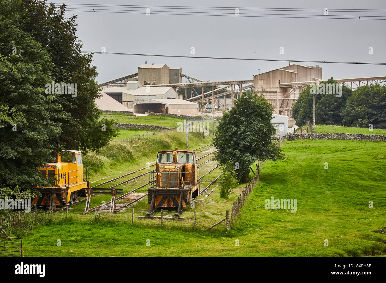 Shapfell Limestone Quarries shunters   Carlisle, Cumbria Raw materials lime Shap Penrith quarry manufacturing Factory - Stock Image