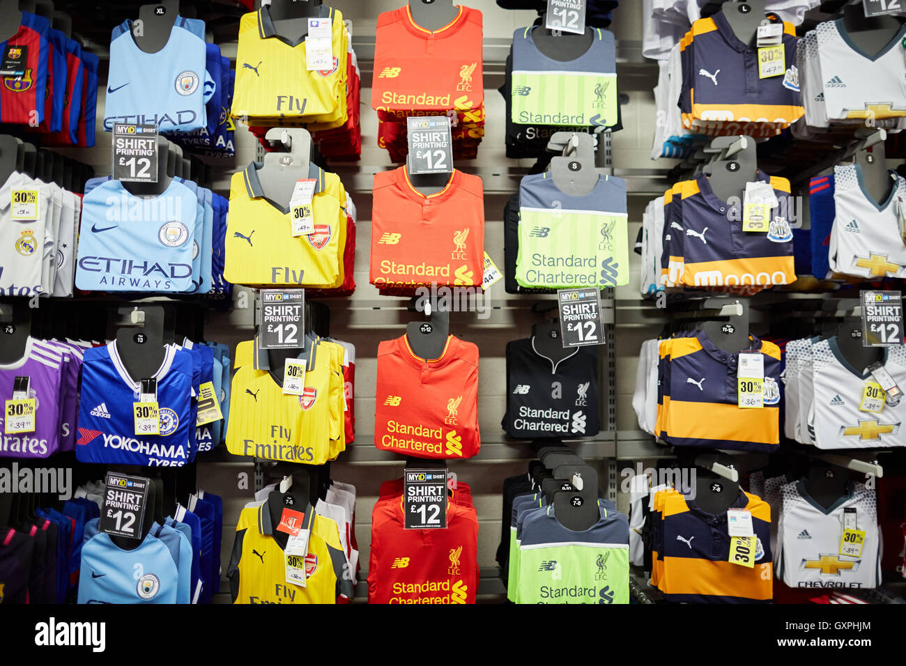 Sports direct football shirts shop display premiership team official  replica shirts tops strip wall display to buy Arsenal Liv 91fdf1b57ce6