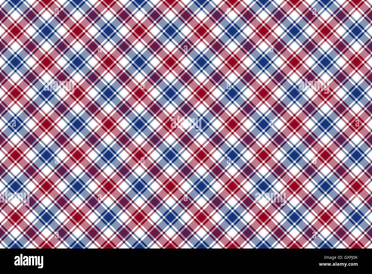 Red Blue White Diagonal Check Texture Seamless Pattern Background Vector Illustration
