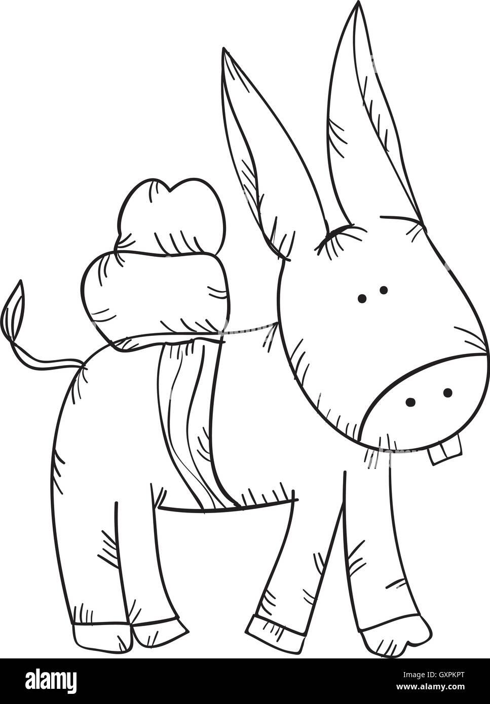 happy donkey black and white stock photos images alamy All Breeds Miniature Animals donkey animal drawn design stock image