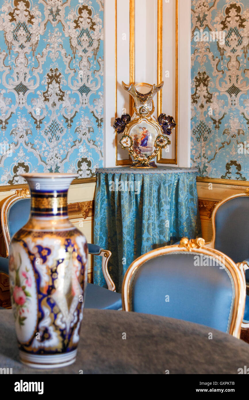 Antique furniture and ornaments inside Casa Canals, Tarragona, Catalonia, Spain - Stock Image