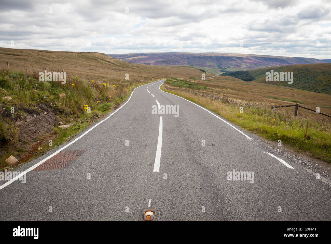 A centered road without cars rolling into the horizon with moorland on either side. - Stock Image