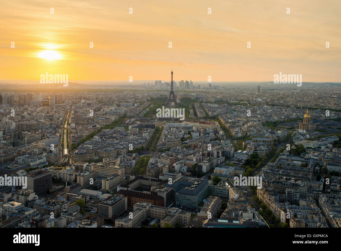 Aerial view of Paris with Eiffel tower at sunset in Paris, France. Eiffel tower is international landmark in Paris, Stock Photo
