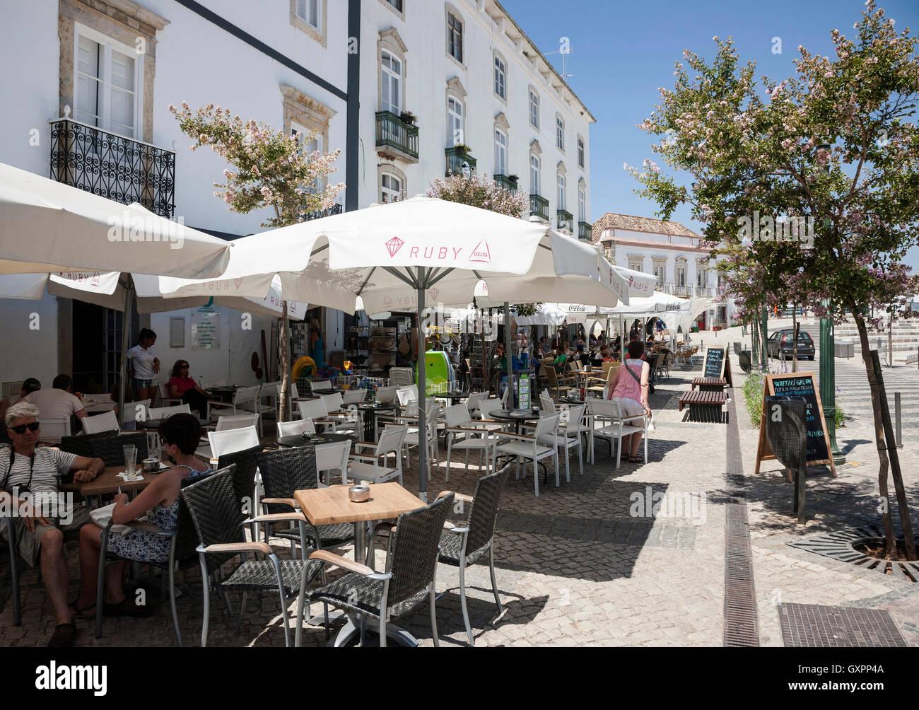 Cafés Restaurants Town Tavira Algarve Portugal Stock Photo