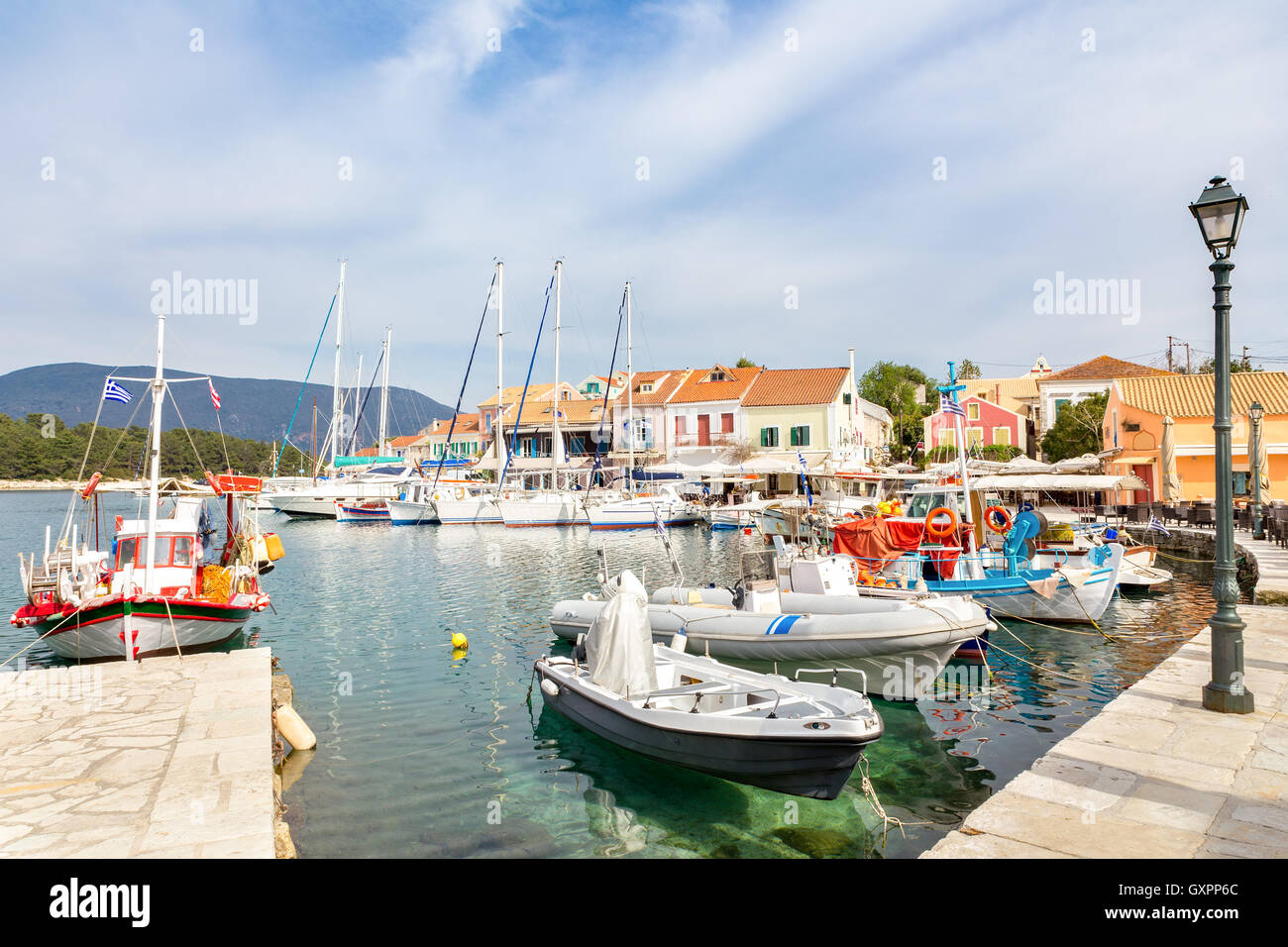 Harbour  in Fiskardo Kefalonia Greece with sailing boats - Stock Image