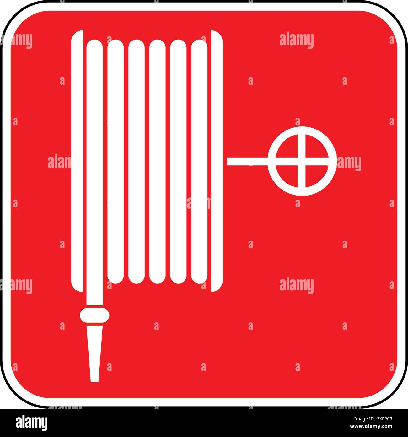Emergency fire hose reel sign white fire hose icon on a red square background vector illustration.  sc 1 st  Alamy & Emergency fire hose reel sign white fire hose icon on a red square ...