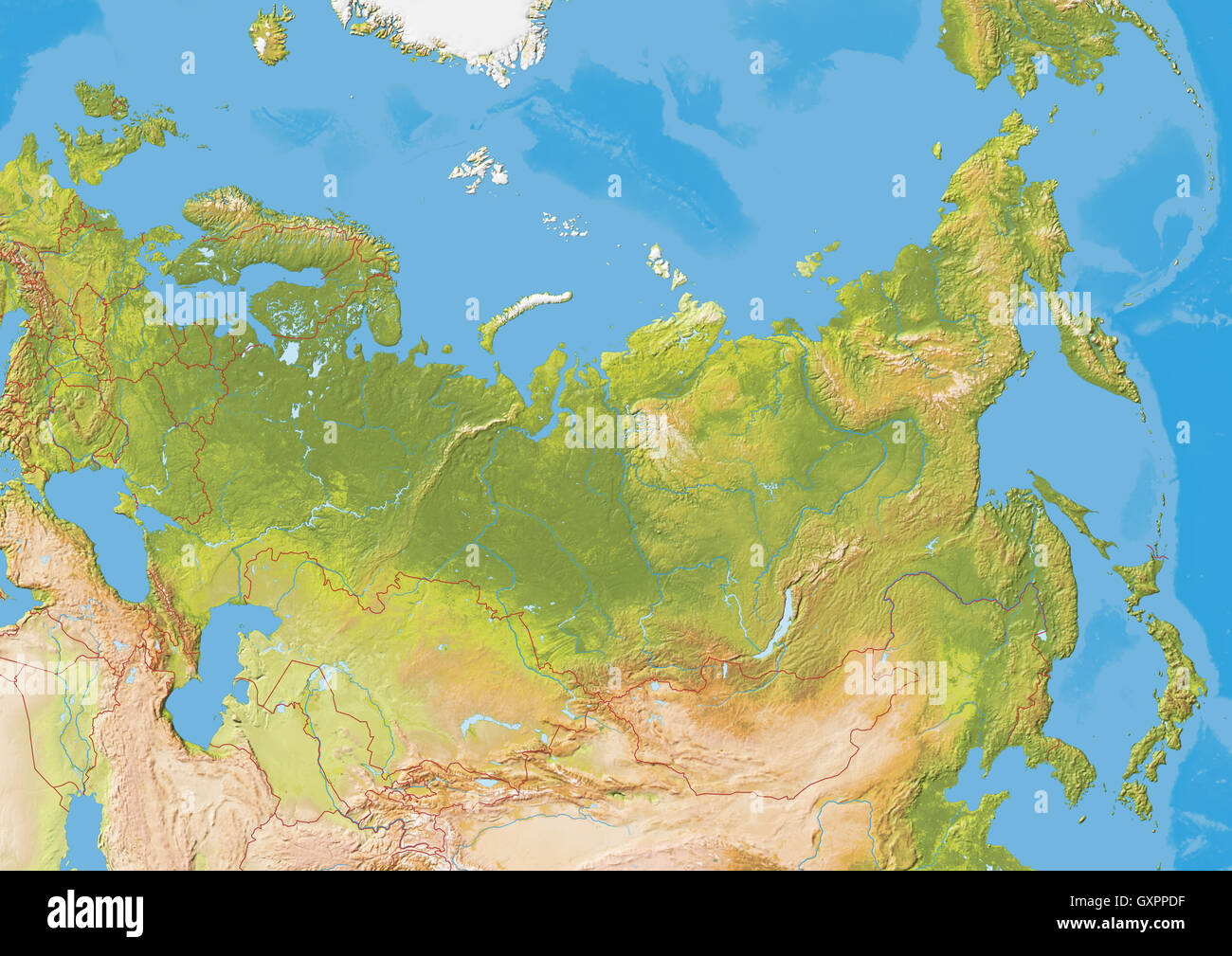 Russia map stock photos russia map stock images alamy map of russia natural colors with hillshading showing international border for crimea gumiabroncs Images
